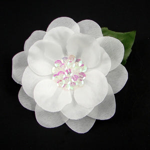 White Sequin Hair Flower by Cats Like Us