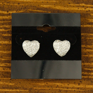Cats Like Us White Sparkle Heart Earrings for sale at Cats Like Us - 2