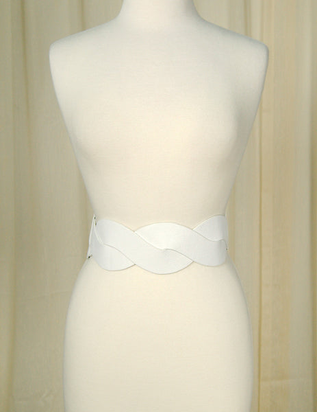 Cats Like Us White Swirl Cinch Belt for sale at Cats Like Us - 1