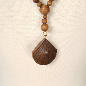 Wood Bead Shell Necklace - Cats Like Us