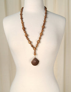 Wood Bead Shell Necklace