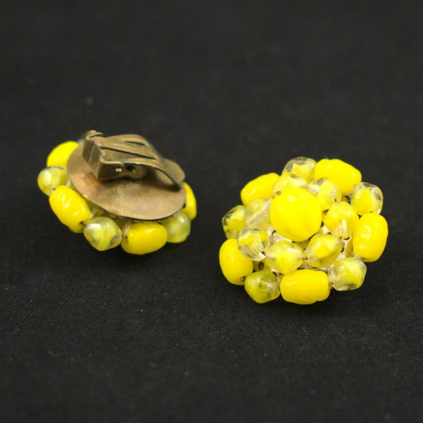 Yellow Bead Cluster Earrings - Cats Like Us