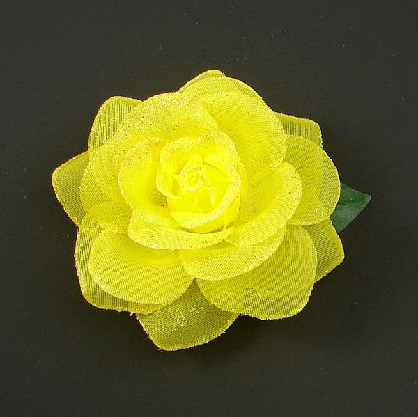 Yellow Glitter Rose Hair Flower