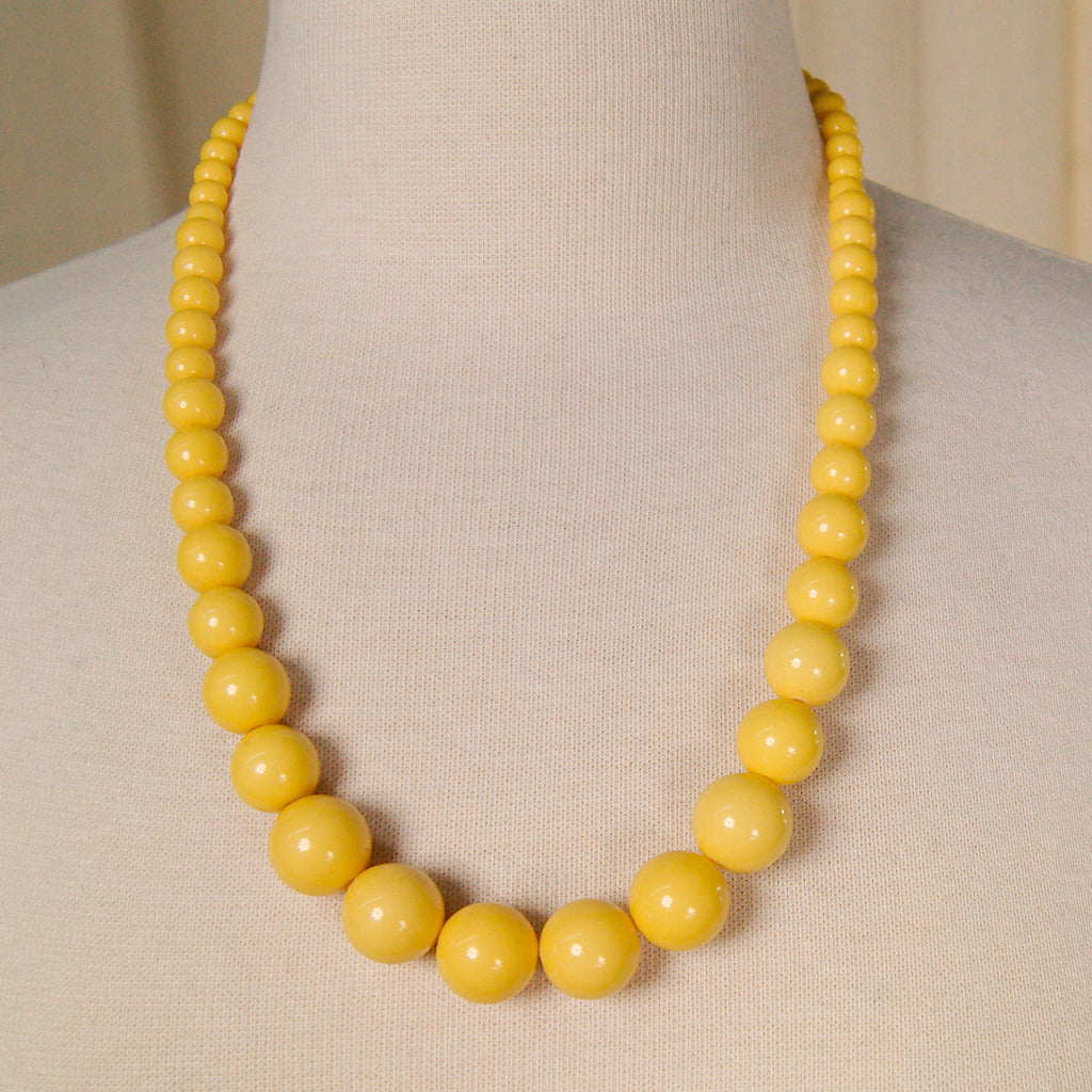 Yellow Gumball Bead Necklace
