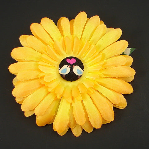 Yellow Love Birds Button Daisy by Cats Like Us