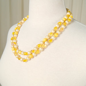Yellow Pearl Clasp Necklace
