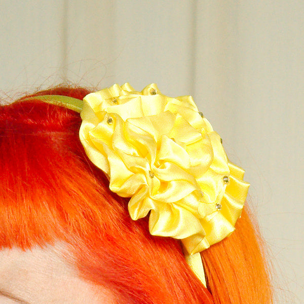 Cats Like Us Yellow Satin Flower Headband for sale at Cats Like Us - 1