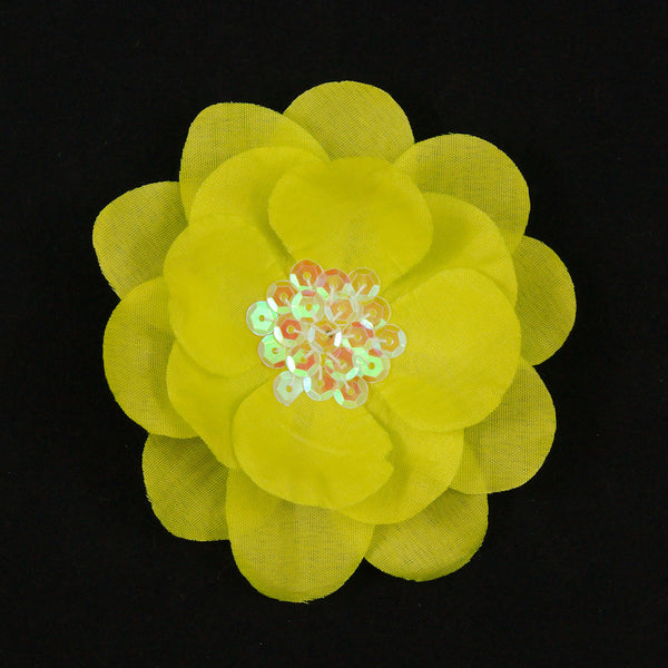 Yellow Sequin Hair Flower