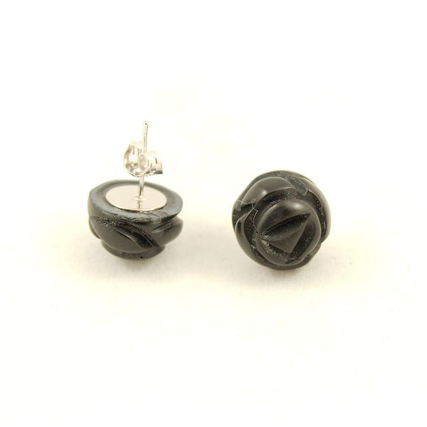 Black Carved Rose Bud Earrings - Cats Like Us