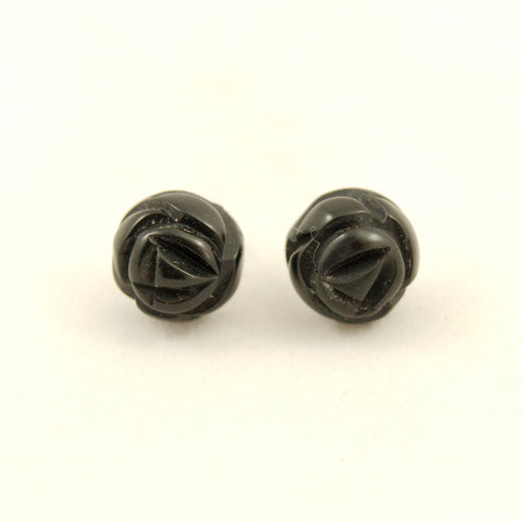 Black Carved Rose Bud Earrings by Charcoal Designs - Cats Like Us