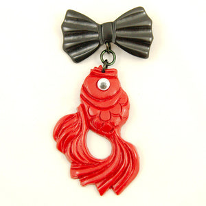 Red Gone Fishing Brooch Pin - Cats Like Us