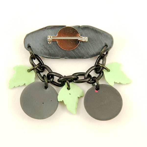 Charcoal Designs Retro Cherries Fakelite Brooch for sale at Cats Like Us - 2