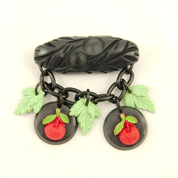 Charcoal Designs Retro Cherries Fakelite Brooch for sale at Cats Like Us - 1