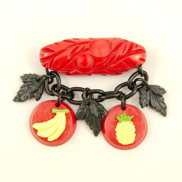 Charcoal Designs Retro Fruit Fakelite Brooch for sale at Cats Like Us - 1