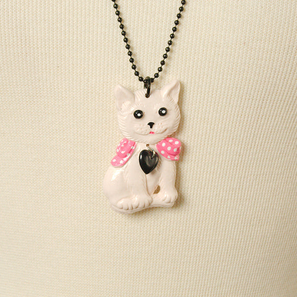Charcoal Designs White Retro Cat Jewelry Set for sale at Cats Like Us - 3