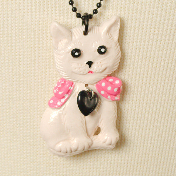 Charcoal Designs White Retro Cat Jewelry Set for sale at Cats Like Us - 4