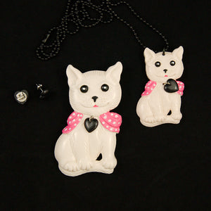 Charcoal Designs White Retro Cat Jewelry Set for sale at Cats Like Us - 1