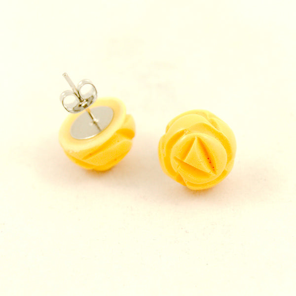 Charcoal Designs Yellow Carved Rose Bud Earrings for sale at Cats Like Us - 2