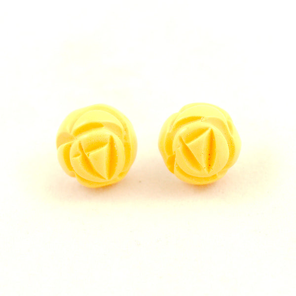 Yellow Carved Rose Bud Earrings