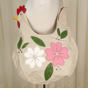 Floral Chicken Hobo Handbag