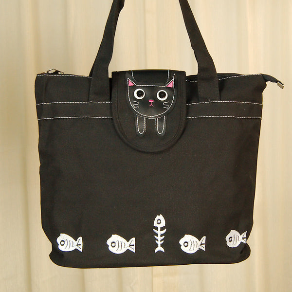 Hungry Black Kitty Cat Totebag