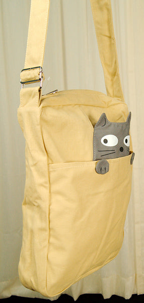 Comeco Inc Peeking Gray Cat Crossbody Bag for sale at Cats Like Us - 4