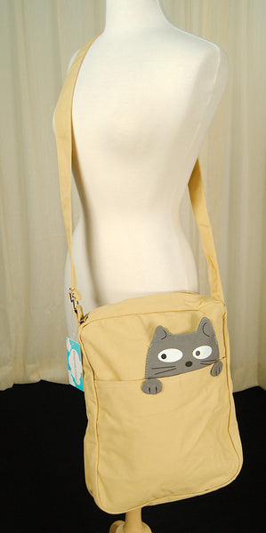 Comeco Inc Peeking Gray Cat Crossbody Bag for sale at Cats Like Us - 3