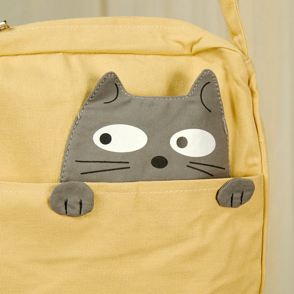 Comeco Inc Peeking Gray Cat Crossbody Bag for sale at Cats Like Us - 5