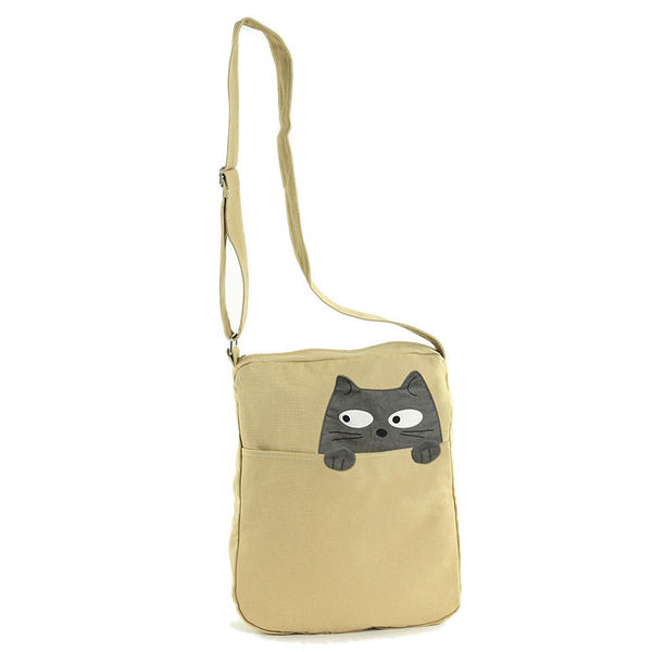Peeking Gray Cat Crossbody Bag by Comeco Inc : Cats Like Us