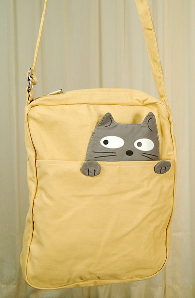Peeking Gray Cat Crossbody Bag