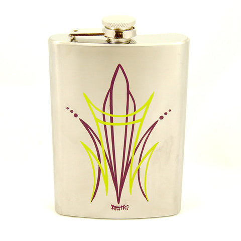 Crime Pays Garage Wear Lime CP Pinstriped Flask for sale at Cats Like Us
