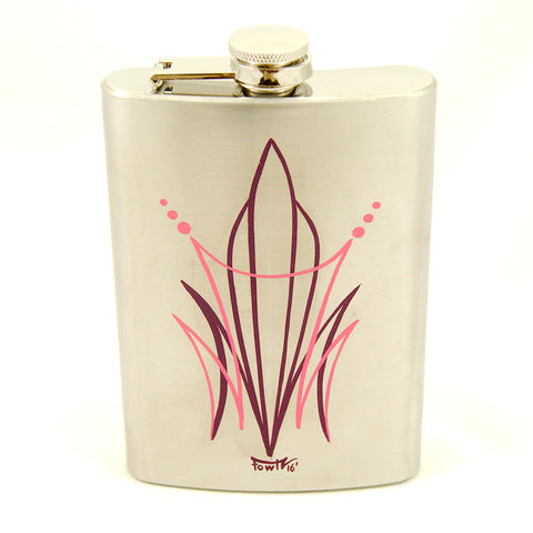 Crime Pays Garage Wear Pink CP Pinstriped Flask for sale at Cats Like Us