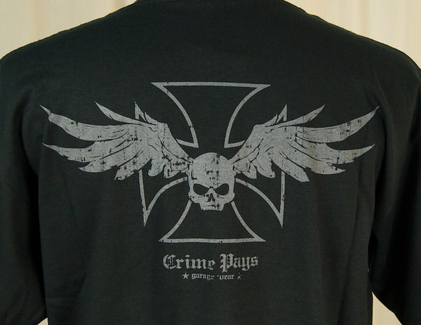 Crime Pays Garage Wear Winged Skull Garage Wear T for sale at Cats Like Us - 2