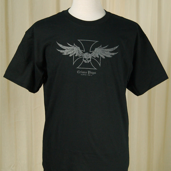 Crime Pays Garage Wear Winged Skull Garage Wear T for sale at Cats Like Us - 3