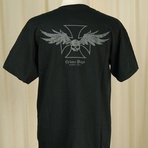 Crime Pays Garage Wear Winged Skull Garage Wear T for sale at Cats Like Us - 1