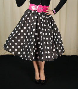 Black & White Dot Circle Skirt by Cruisin USA - Cats Like Us