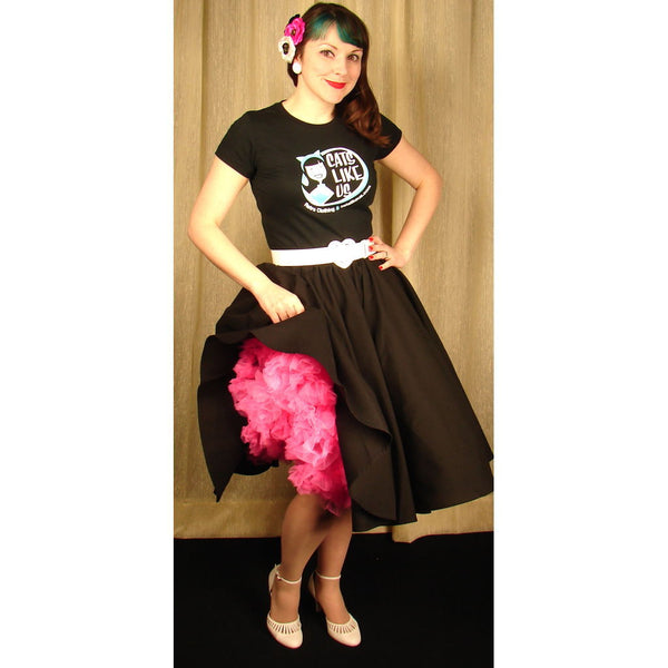 Black Full Circle Skirt - Cats Like Us