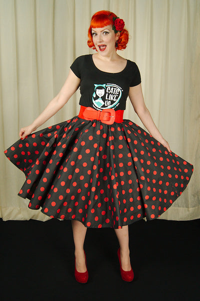 Cruisin USA Red & Black Dot Circle Skirt for sale at Cats Like Us - 3