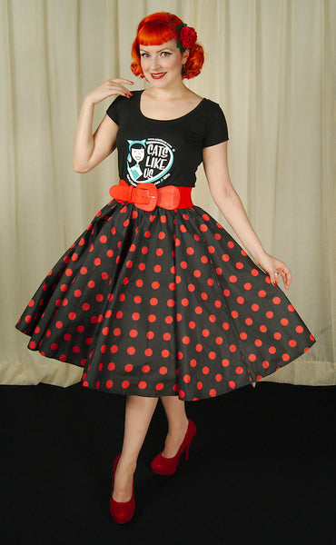 Cruisin USA Red & Black Dot Circle Skirt for sale at Cats Like Us - 2