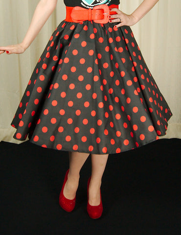 Red & Black Dot Circle Skirt - Cats Like Us