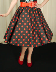 Red & Black Dot Circle Skirt