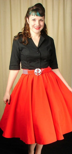 Red Full Circle Skirt by Cruisin USA