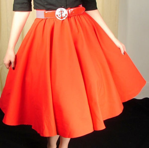 Red Full Circle Skirt - Cats Like Us