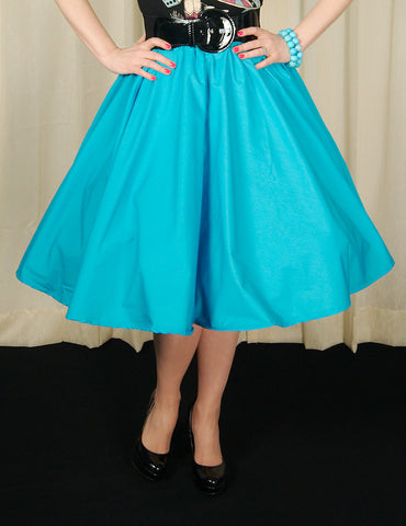 Sky Blue Full Circle Skirt by Cruisin USA : Cats Like Us