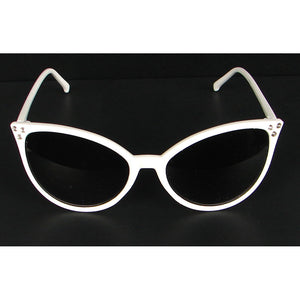 White Modern Cat Eye Sunglasses by Elope
