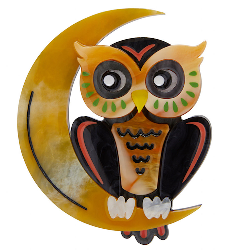 A Moon with a View Owl Brooch