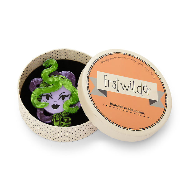 Avert Thy Gaze Medusa Brooch by Erstwilder : Cats Like Us