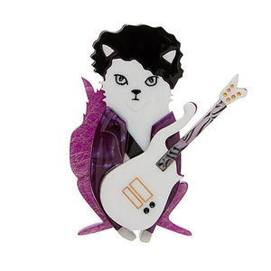 Purple Rain Prince Cat Brooch by Erstwilder : Cats Like Us
