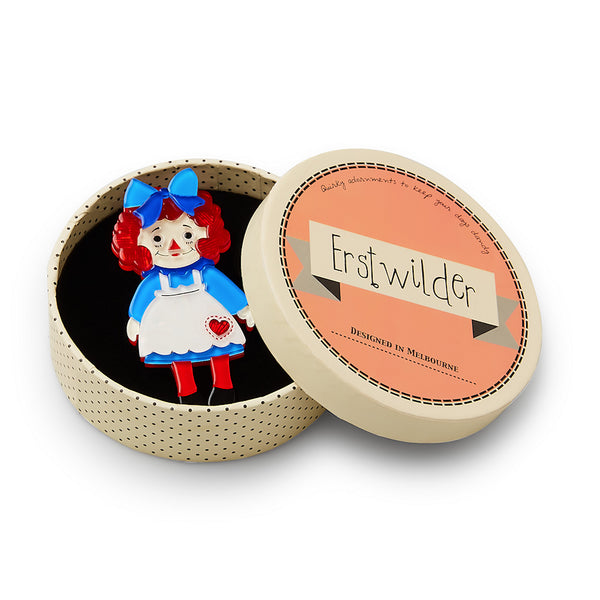 Raggedy Annie Doll Brooch Pin