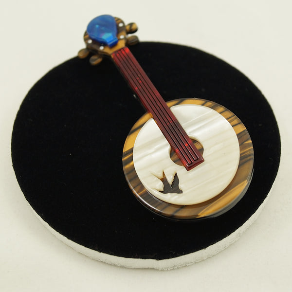 Stay Plucky Banjo Brooch by Erstwilder : Cats Like Us